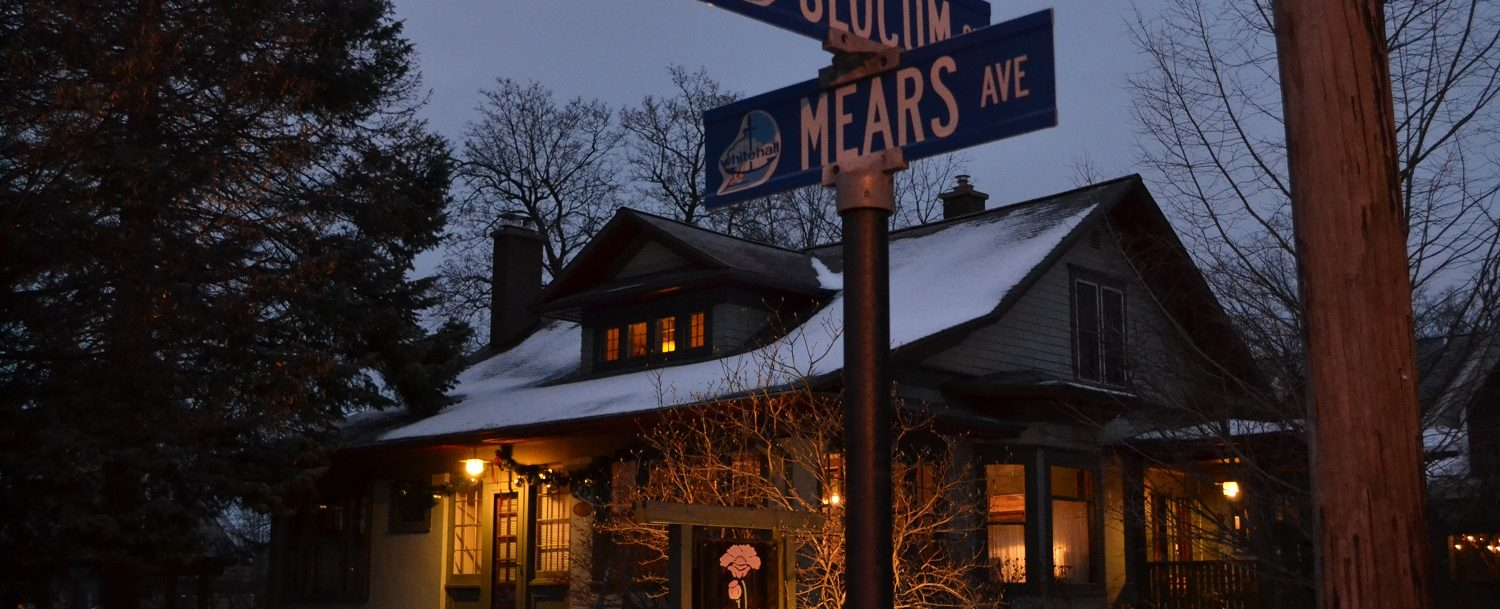 Slocum and Mears street sign. Used for directions page on Cocoa Cottage Bed and Breakfasts website.